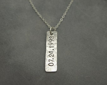 sterling silver personalized rectangle necklace