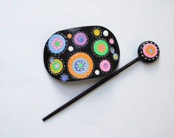Colorful Hair Slide, Hair Pin, polymer clay hair accessory, hair stick