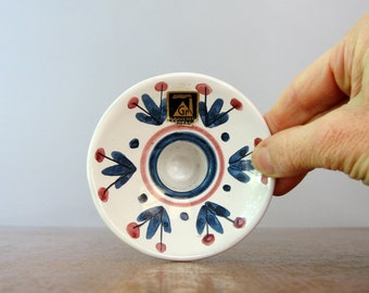 Vintage Graveren Norway Candle Holder - Hand Painted Scandinavian Ceramics
