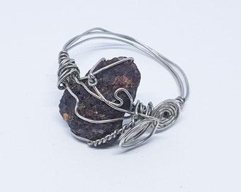 OOAK Silver Wire Wrapped Raw Garnet Gemstone Size 10 Ring
