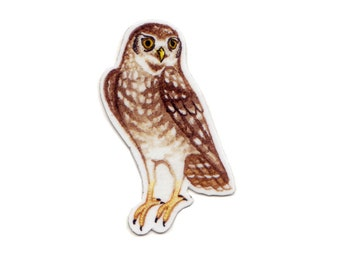 Burrowing Owl Bird Magnet / Nature Art / Refrigerator Magnet / Office Magnet / Party Favor / Small Gift