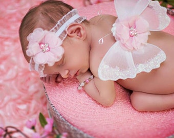 Newborn butterfly wings, mini wings, white and pink, matching headband, pink flowers, ruffled elastic, ready to ship, photo prop, baby gift