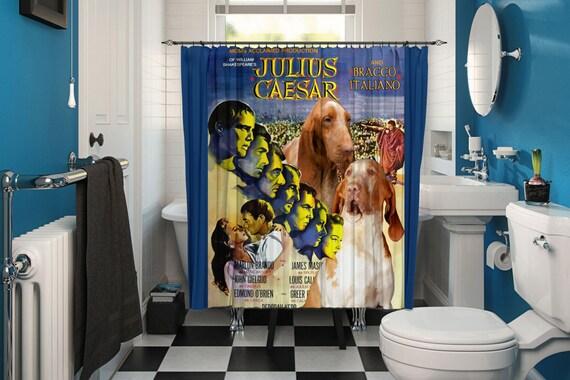 Bracco Italiano Art Shower Curtain, Dog Shower Curtains, Bathroom Decor - Julius Caesar Movie Poster by Nobility Dogs