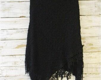 Poncho,BLACK,  lace knit, check shawl, wrap, scarves, winter, fringe, country, fall, wraps, bohemian, wedding,fashion, accessories | PW2