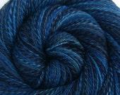 Two Skein Set, Luxury Handspun Yarn - DARK HARBOUR - Hand painted 85/15 Polwarth wool/ Silk, Fingering weight, 916 yards