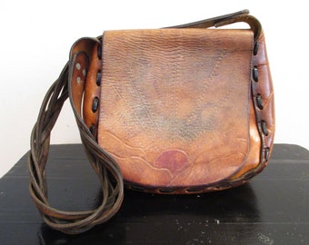 Vintage 1970s Leathe Bag | Painted Sunset and Tooled Leather Bag
