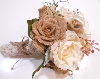 Rustic Wedding Burlap Rose Bouquet Bridesmaid Bouquet Ivory Rose. Lace and Burlap Cuff Handle. Country Shabby Chic Bride