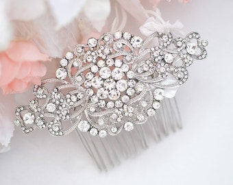 Bridal glam vintage swarovski crystal hair comb. Rhinestone jewel wedding headpiece