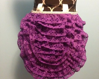 Steampunk Ruffle Bustle Purple Eyelet Trim  READY TO SHIP