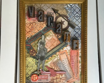 """Framed Original Artwork, """"Vacate"""", 6.5X9 inches in size with frame, Mixed Media, beach, vacation wall art, wood, acrylic"""