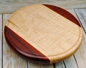 """Wood Lazy Susan - Multi-Wood Lazy Susan - Curly Maple and Padouk - Wood Carving - Centerpiece - Wooden Lazy Susan - Medium Size - 10 3/4"""""""