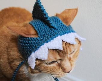 Shark Cat Costume - Hand Knit Cat Hat - Cat Halloween Costume