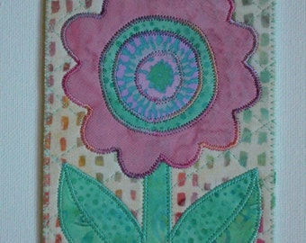 Flower Birthday Mom Friend Card -MADE TO ORDER- Frame Gift Thank You Love Housewarming Room Decor Fabric Postcard Art Quilted Appliqued 4x6