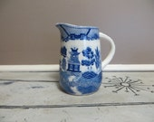 Blue Willow Pitcher marked Japan Ironstone Pitcher Blue and White Oriental Carafe Porcelain Pitcher Blue Transferware  Transferware Pitcher