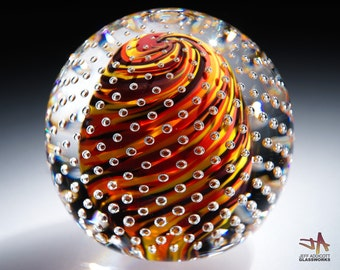 Handcrafted Art Glass Paperweight - Hot Color Swirls with Bubble Grid