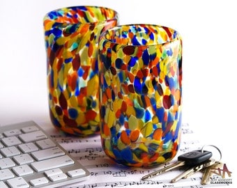 Set of Two Handblown Glass Tumblers - Multicolor Dots