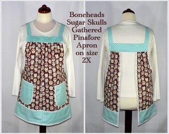 """SUGAR SKULLS """"no tie apron"""", Pinafore Apron -all day apron - Michael Miller Bonehead, XS to Plus Size available"""