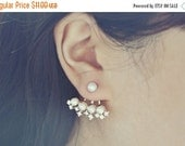 VALENTINES DAY SALE Rose Gold Ear Jacket Earrings with Crystals and Pearls