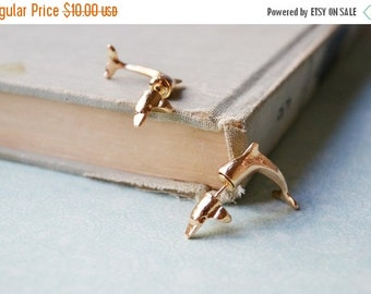 VALENTINES DAY SALE Gold Dolphin Ear Jacket Earrings