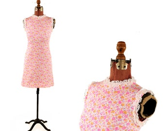 Vintage 1960's Pink + White Floral Cotton Mini Mod Lace Trim Shift Baby Doll Scooter Dress S