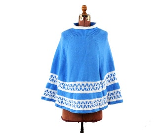 Vintage 1970's Sky Blue + White Retro Soft Knit Nordic Sweater Hippie Poncho Cape Coat S M