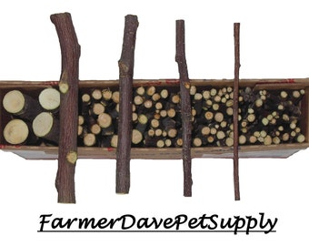120 Assorted Organic Apple Wood Chews For Rabbits, Guinea Pigs, Chinchillas, Gerbils, Hamsters,,,,,,