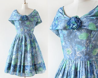 1950s Gigi Young Floral Party Dress / Rosette Party Dress / Blue Flower Print Dress / 1950s Prom Dress / 1950s Party Dress / Medium 28 Waist