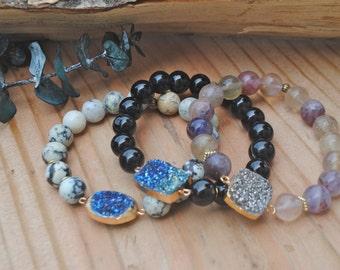 Handmade Crystal Druzy Beaded Bracelets