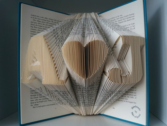 Initial Folded Book Art-1st Anniversary-Weihnachtsgeschenk-made to order