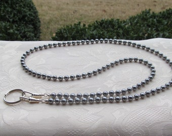 Light Gray Silver ID Badge Lanyard Swarovski Pearl Beaded Lanyard Necklace ID Badge Holder