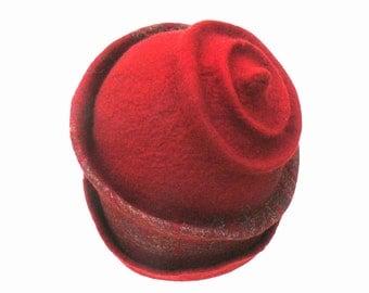 Sale Felted Hat Handmade Merino wool - Red