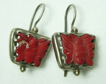 Vintage Carved Red Coral Sterling Silver Earrings Butterflies Native American Zuni Signed Southwestern