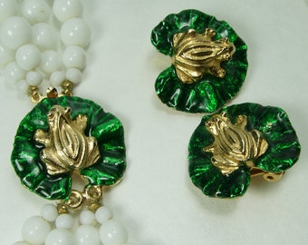 1970s Gay Boyer Necklace Earrings Frogs on Lily Pads Green Guilloche Enamel White Glass