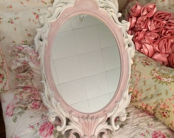 shabby pink and white nusery mirror