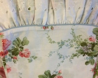 VINTAGE pair Standard pillowcases so shabby chic,  pink cabbage rose and lace, Croscill