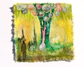 Original painting canvas art patch unicorn tree orbs figure
