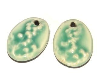 Ceramic Earring Charms Pair Rustic Stoneware Pottery Aqua