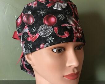 Christmas Ponytail scrub cap
