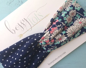 Navy Polka Dot Floral Twisted Turban Headband
