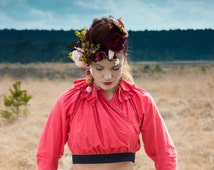 Red folklore blouse - traditional clothing upcycled into unique piece (one size)
