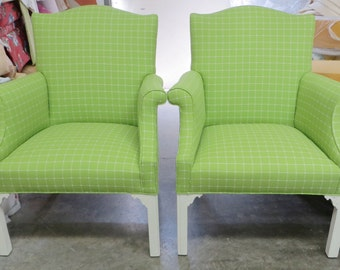 Pair of Armchairs in Apple Green Windowpane - Totally Refurbished
