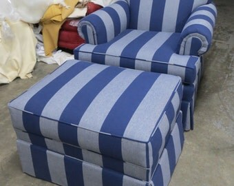 Century Club Chair and Ottoman in Denim Blue stripe - Totally Refurbished