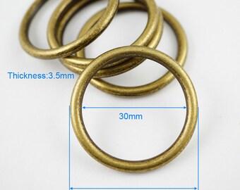 10Pcs Antique Brass O Ring  Metal O Ring Inner Diameter 30mm (B-G8126)