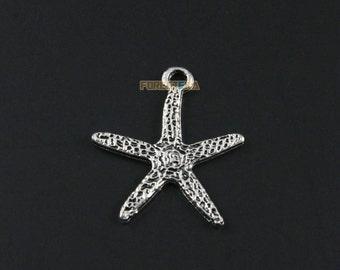 50Pcs Antique Silver Star Fish Charm Star Fish Pendant 19x18mm (PND1303-1568)