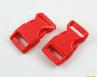 50 Pieces 15mm Red Plastic Side Quick Release Buckle Clip for Backpack Bag (RBCNO32)