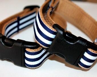 Nautical Dog Collars Navy Stripe Dog Collar and Leash Large Dog Collar Boy Pet Collar Navy Stripe Collar Khaki Dog Collar Small Dog Collar