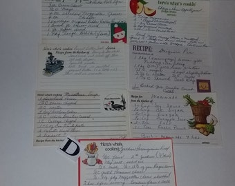 D 7 vintage recipe cards hand written old recipes pages paper ephemera lot words altered art scrap project supplies