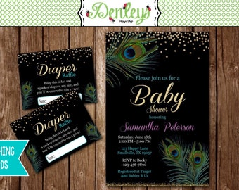 Matching Diaper Raffle Cards Available - Peacock Baby Shower Invitation (PE03)