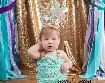 Birthday Girl Fancy Crown Hat in Mint, Pink, Ivory and Gold with Flower and Feather Embellishments