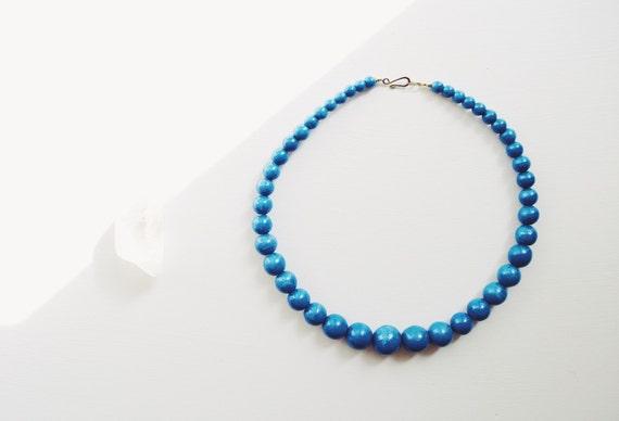 Vintage Handmade Wood Beaded Blue Necklace // Bohemian Jewelry